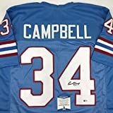 Autographed/Signed Earl Campbell Houston Blue