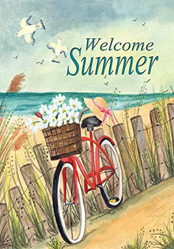 - Toland Home Garden Beach Cruiser 28 x 40 Inch Decorative Welcome Summer Ocean Bicycle House Flag