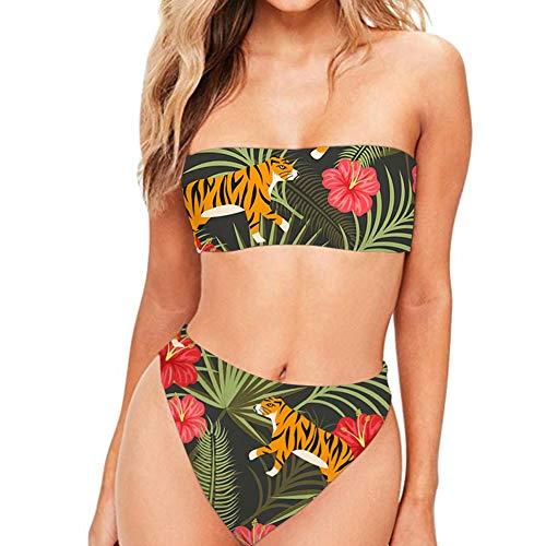 (JoyLamoria Women Sporty Two Pieces Swimsuit Bandeau Bikini Tube Top High Cut Cheeky Bottom Tiger and Leaf Floral Pattern S)