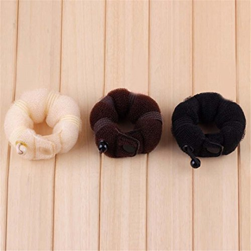 2 Pcs/Set DIY Donut Hair French Dish Made Synthetic Wig Donuts Bud Hair Band Ball Tool Black by HAHUHERT (Image #7)