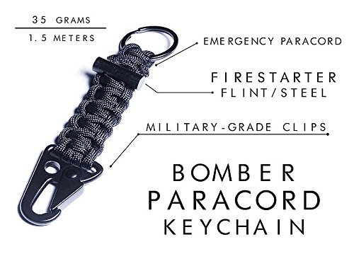 Bomber and Company Paracord Carabiner Survival Keychain Lanyard Military Grade Type III 7 Strand 550 Lb Test Cord Premium Best Quality Survival Keychain Outdoor Gear Black