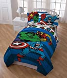 5 Piece Boys Blue Marvel Superhero Themed Comforter Twin Set, Horizontal Striped Comic Super Action Movie Heros Character Bedding, Hero Characters Captain American The Hulk Iron Man Spiderman