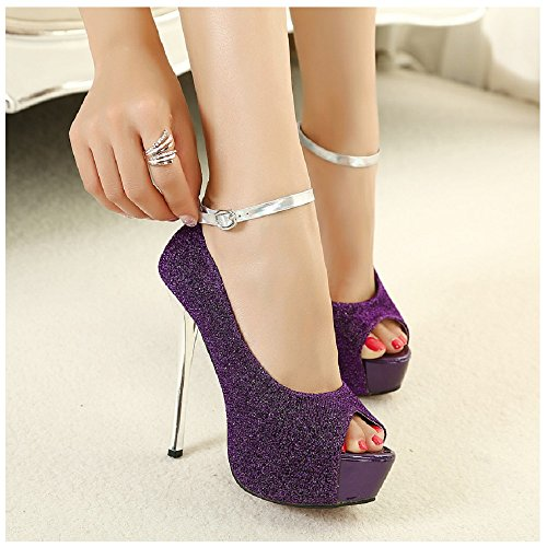Hanxue Women's Glitter Open Peep Toe Platform Stiletto High Heels Dress Pumps Purple US - Online Stiletto