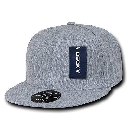 [DECKY Retro Fitted Cap, Heather Grey, 7 3/4] (Hats 4 U)