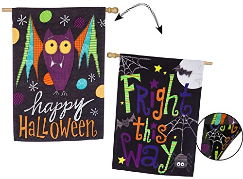 Evergreen Halloween Bat Fright This Way Suede House Flag, 28 x 44 inches -