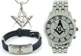 3 Piece Jewelry Set - Freemason Pendant, Bracelet & Freemasons Watch. Masonic Symbol on Silver Color Steel Band. Full Silver Tone Face Dial. Watches for Free Masons