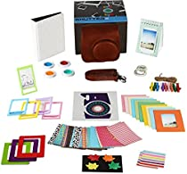 Instax Mini 9 or Mini 8/ 8+ Accessories, Fujifilm Camera 14 PC Bundle Set Includes BROWN Case with Adjustable Strap, Albums, Filters, Selfie lens, Magnet Frames, stickers, Hanging Frames with Gift Box