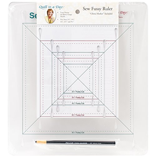 Quilt in a Day Sew Fussy Ruler withChina Marker, 2.5'' To 9.5'' by Quilt In A Day