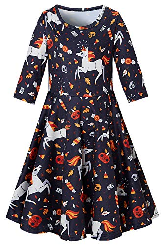 Dresses for Girls 7-8 yrs Casual Medium Sleeve Playwear Adorable Unicorn Twirly Dresses Summer Fall Tank Skirt for Party School
