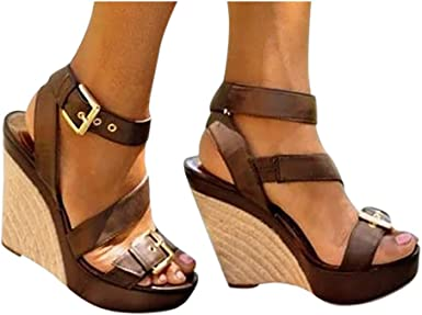 Open Toe Wedge Sandals for Women, High
