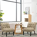 Haobo Armless Accent Chairs with Button Tufted for Living Room or Reception Room (Set of 2) Livingroom Chair, Khaki Gray Review