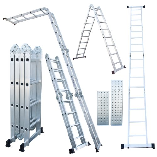 330 Lb 15.5 Ft Step Platform Multi Purpose Aluminum Folding Scaffold Ladder
