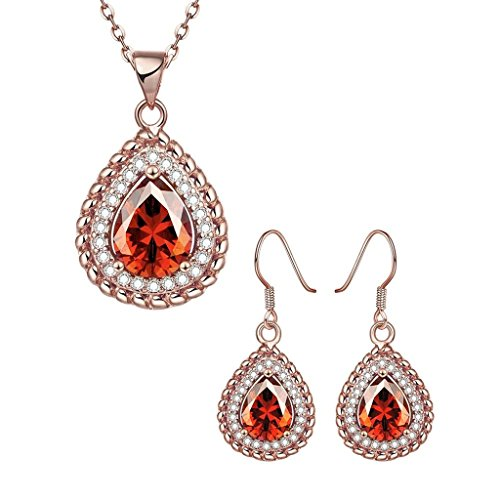 AMDXD Womens Jewelry Set Earrings Rings Necklace Bracelet Rose Gold Plated AAA Elements Size 8