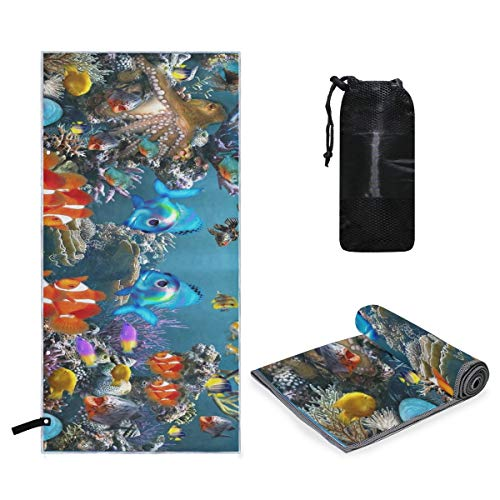 Rachel Dora Microfiber Pool Oversized Towel Tropical Fish 3D Screensaver Quick Dry Super Absorbent Lightweight Towel for Travel Swimmers, Sand Free Beach Towels for Kids & Adults, Water Sports ()