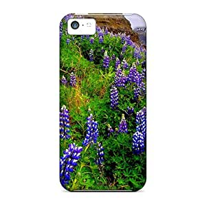 Iphone 5c Case Cover - Slim Fit Tpu Protector Shock Absorbent Case (lupine Mountain)