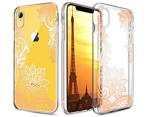 """Casetego Compatible iPhone XR Case,Clear Soft Flexible TPU Case Rubber Silicone Skin with Flowers Floral Printed Back Cover for Apple iPhone XR 6.1"""",Gold Flower"""