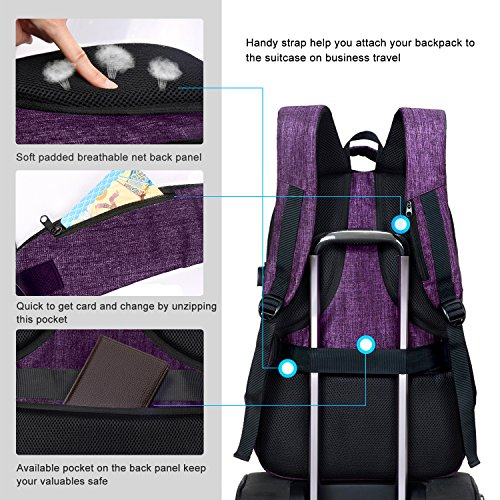 MarsBro Laptop Backpack, Anti Theft Business Water Resistant 15.6 Inch with USB Charging Port Travel College Computer Bag, Purple by MarsBro (Image #4)
