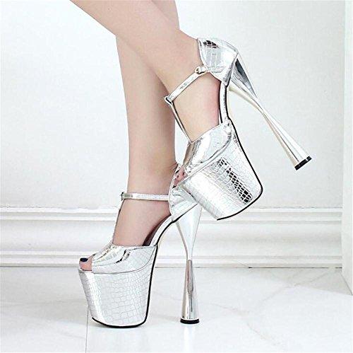 Ouvrir Talon Mariage De Chaussures Sandales eu35 Silver Et 41 Fête Pour Club Des Taille À Pied forme Plate Doigt Pompes Soirée 35 Aiguille Xie Femmes XqYtw88