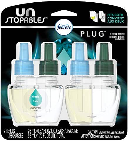 Febreze Air Freshener,  Unstoppables Air Freshener,  Fresh Pluggable Scented Oil Refills Air Freshener, 2 ct