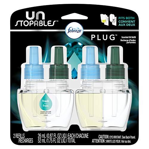 (Febreze Air Freshener,  Unstoppables Air Freshener,  Fresh Pluggable Scented Oil Refills Air Freshener, 2 ct)