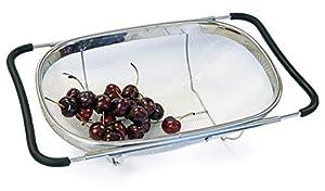 Culina Abtropfsieb (Oval) Sieb über dem Spülbecken, Feines Edelstahl Netz,...
