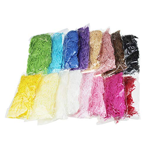 (LJY 0.7LB Multicolored Raffia Paper Shreds & Strands Shredded Crinkle Confetti for DIY Gift Wrapping & Basket Filling)