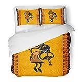 SanChic Duvet Cover Set Orange Southwestern Tribal Dancing Figure Africa Kokopelli Southwest Decorative Bedding Set with 2 Pillow Shams King Size