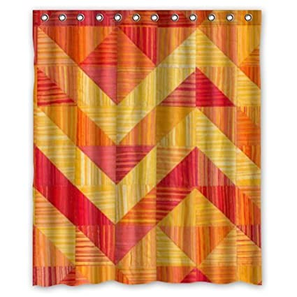 Classic Red Orange Green And Blue Transverse Stripes Shower Curtain 60x72 Inch Amazoncouk Kitchen Home