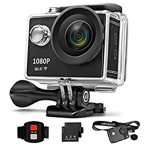 AnGeer Action Camera 4K Wifi Sports Camera 170° 2 inch Waterproof 30m Underwater DV Camera (with 1 Fashionable strip case and 1 backup battery)