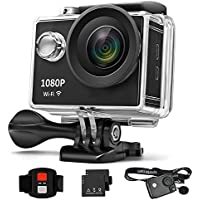 GordVE GVE221 Waterproof Action Camera 4K WiFi Waterproof Sports Camera 170° Ultra Wide-Angle Len with Nice Sensor, 2 Pcs Rechargeable Batteries and Portable Package