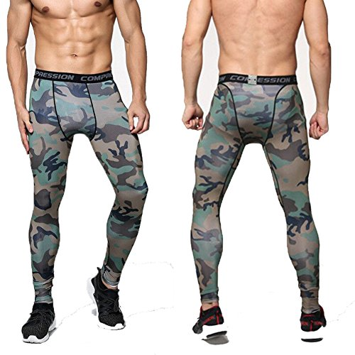 Camo Base (Harsel Men's Camo Sports Compression Cool Quick-drying Pants Workout Tights Running Base layer Sportswear Leggings for Hiking,Marathon,Basketball,Soccer.Exercise and Fitness (XL, Green Camo))