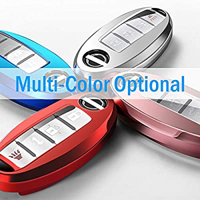 COMPONALL for Nissan Key Fob Cover, for Nissan Altima Maxima Rogue Armada Pathfinder, Infiniti (3 4 5-Button) Premium Soft TPU Full Cover Protection Smart Remote Keyless Key Fob Case,Blue: Automotive