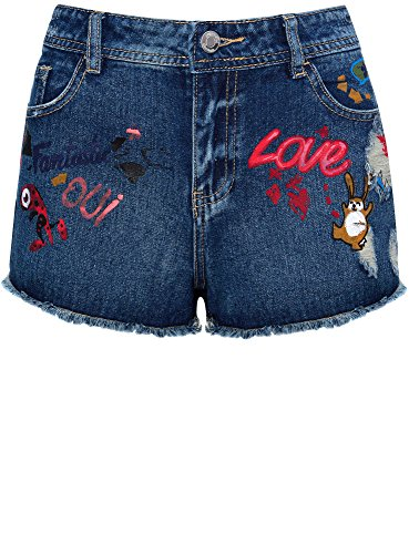 Ricami E Jeans Disegno Oodji 7919k In Con Ultra Blu Donna Shorts IF77w08x