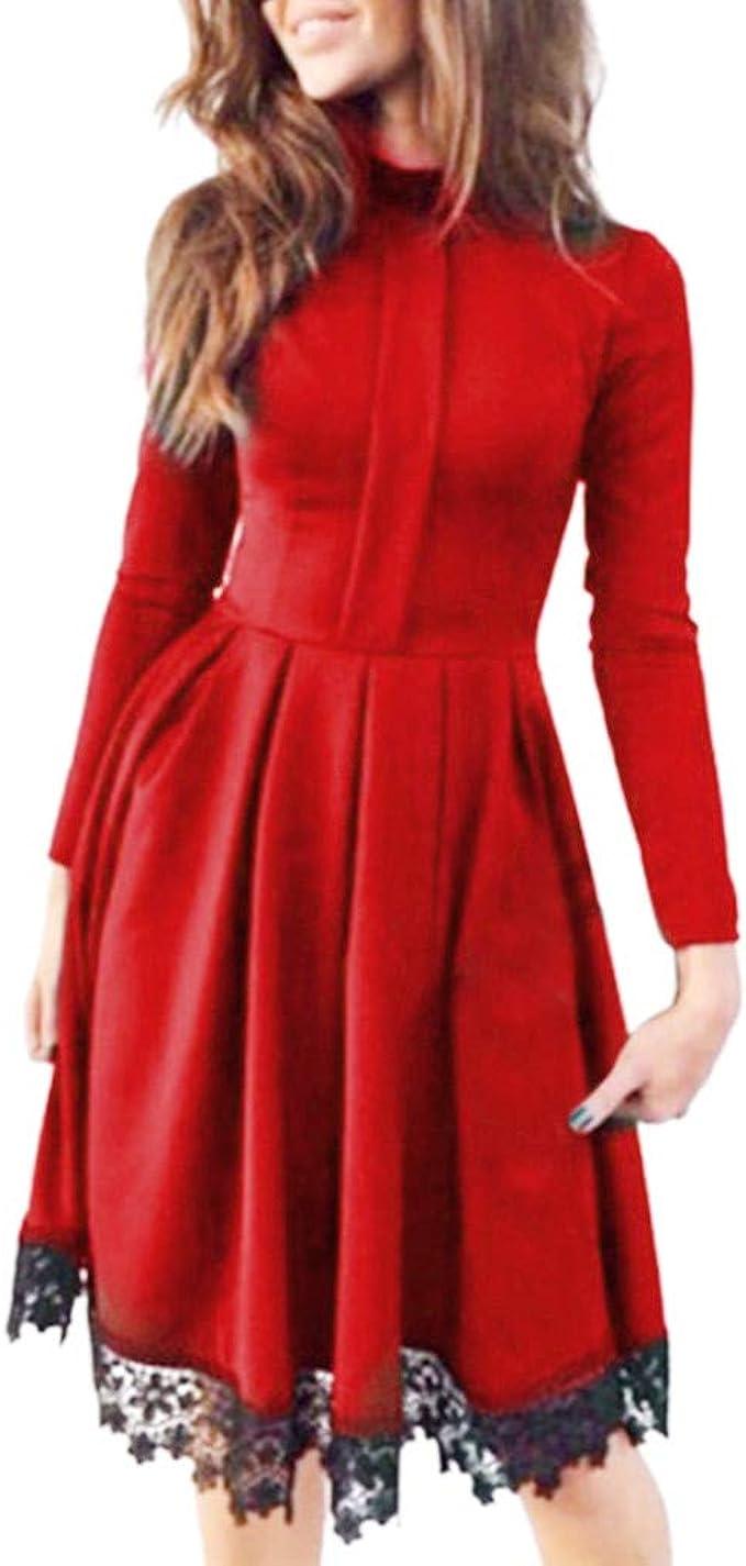 MAYOGO Langarm Unifarben Kleid mit Stehkragen und Spitze Hem