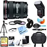 Canon (8806A002) EF 17-40mm F/4 L USM Lens Ultimate Accessory Bundle includes Lens, 64GB SDXC Memory Card, Flash, Flash Cover, Tripod, 77mm Filter Kit, Lens Hood, Bag, Cleaning Kit and More