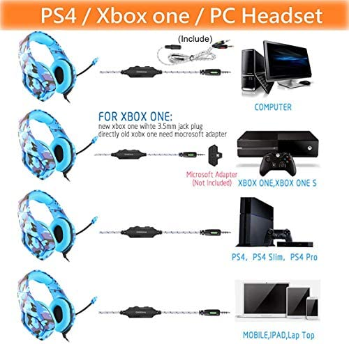 Gaming Headset PS4, Compatible for Xbox One, Nintendo Switch, ONIKUMA K1 Stereo Noise Cancelling Over Ear Headphones with Microphone,Volume Control for PC, Phone, with Free Headphone Hook 51GLr9W rcL