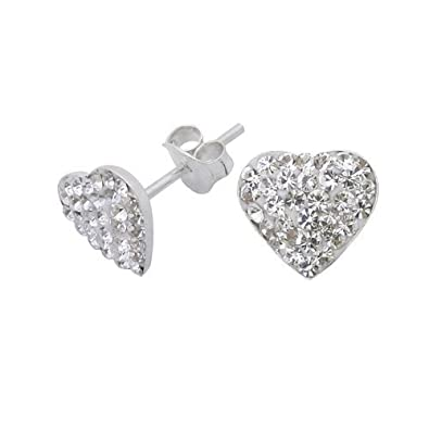 Tuscany Silver Sterling Silver White Crystalique Pave Heart Stud Earrings R9UvEQ2J