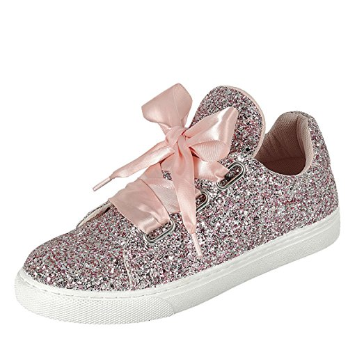 Für immer Link Damen Runde Toe Ribbon Bow Lace Up Glitter Fitness Gym Trainer Mode Turnschuhe Rosa