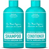 Radha Organic Ayurvedic Shampoo and Conditioner set Men & Women with Argan Oil - 100% natural, Sulfate free, Deep Moisturizing, for Itchy Scalp, gentle on Curly & Colored hair - Neroli & Minty Scent