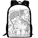 ZQBAAD Black-and-white Animal In Africa Luxury Print Men And Women's Travel Knapsack