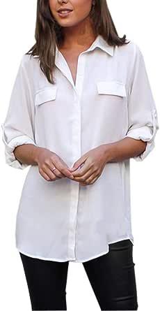 Mujer Ocio Manga Larga Color SóLido Camisa Top,Belasdla Mujer Camisetas Larga SeccióN Manga Larga Camisa Color SóLido Bolsillo Suelto TamañO Grande ...