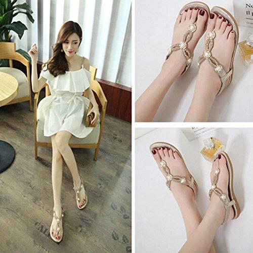 SHOBDW Bohemian Rhinestone Moda plana de gran tamaño Casual Sandalias sandalias mujer verano 2017 vestir Gold