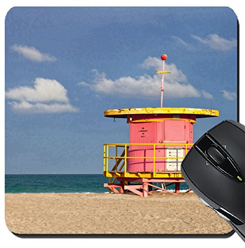 MSD Suqare Mousepad 8x8 Inch Mouse Pads/Mat design 19428528 Summer scene in Miami Beach Florida with a colorful lifeguard house in a typical Art Deco architecture with ocean and - Beach Miami Scene