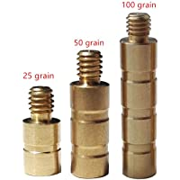 12 Pcs 25 Grain 50 Grain 100 Grain Copper Weight Screw Arrow Point Inserts Archery Hunting Accessory