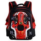 oofay School Bag For Boys 3D Racing Shouders Bag 6-12 Years Old Children Backpack 12.5 * 9.4 * 16.9Inch,Red
