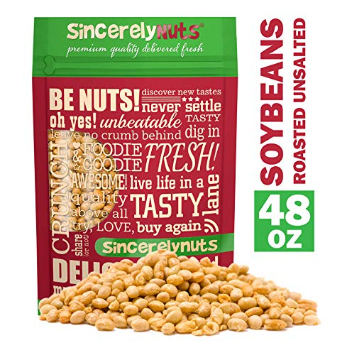 Sincerely Nuts Soybeans (Soy Nuts) Roasted & Unsalted - Three Lb. Bag – Insanely Healthy Snack - Exquisite Crunchy Taste - Kosher Certified