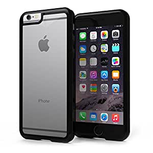 KHOMO Apple iPhone 6 4.7'' Case - HYBRID Cover - Black Elastic Bumper with Transparent Clear Back - 5 YEAR WARRANTY