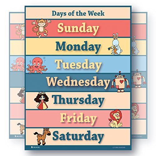 Learning days of the week LAMINATED educational SMALL poster chart for toddlers preschool edu - Small Day Poster