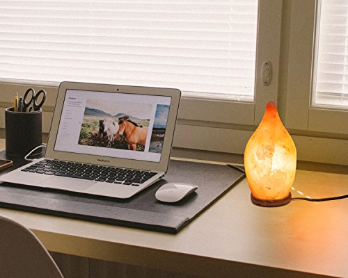 [Hand Crafted] HemingWeigh Natural Himalayan Crystal Salt Drop Lamp 20cm with Wood Base, Electric Wire & Bulb