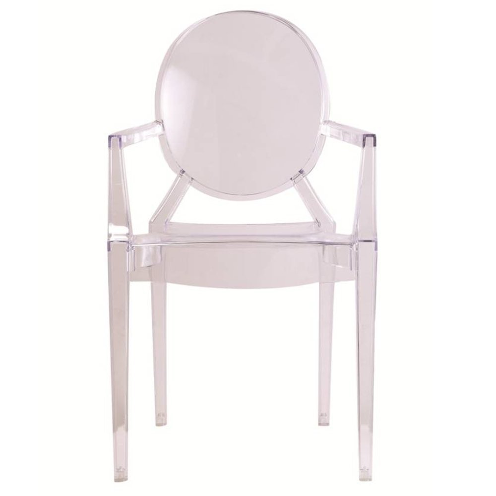 Designer Modern Louis Ghost Arm Chair Set of 2 Transparent Acrylic Chairs